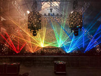 Laser projector setup and programming for the Marshmello tour in an old abandoned warehouse in Brooklyn, New York.