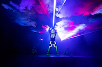 This photo was shot during Festival of Lights in Zagreb in March 2019. Show was made with 10 lasers and 3 dancers that were manipulating with lasers.
