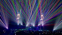 This photograph captures our lasers that created this multi-colour visual display for Ozzy Osbourne's Ozzfest, NYE, LA Forum.